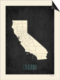 Black Map California Posters by Rebecca Peragine