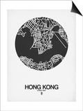 Hong Kong Street Map Black on White Prints by  NaxArt