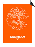 Stockholm Street Map Orange Poster by  NaxArt