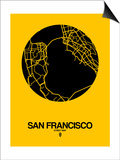San Francisco Street Map Yellow Prints by  NaxArt