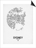Sydney Street Map White Prints by  NaxArt