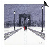 Nighttime Stroll across Brooklyn Bridge - New York Poster af Jon Barker