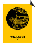 Vancouver Street Map Yellow Art by  NaxArt