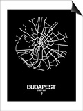 Budapest Street Map Black Prints by  NaxArt