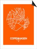 Copenhagen Street Map Orange Posters by  NaxArt