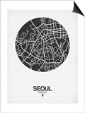 Seoul Street Map Black on White Posters by  NaxArt