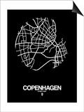 Copenhagen Street Map Black Art by  NaxArt