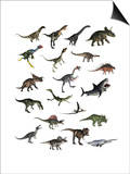 Set of Dinosaurs Prints