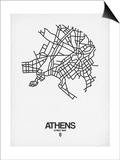 Athens Street Map White Prints by  NaxArt