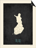 Black Map Finland Poster by Rebecca Peragine