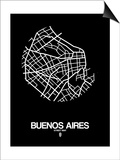 Buenos Aires Street Map Black Print by  NaxArt