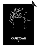 Cape Town Street Map Black Posters by  NaxArt