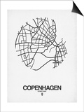 Copenhagen Street Map White Posters by  NaxArt