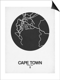 Cape Town Street Map Black on White Prints by  NaxArt