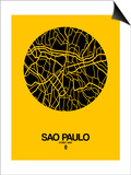 Sao Paulo Street Map Yellow Posters by  NaxArt