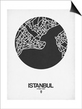 Istanbul Street Map Black on White Posters by  NaxArt