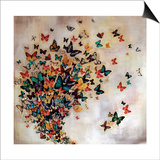 Butterflies on Pale Ochre Print by Lily Greenwood