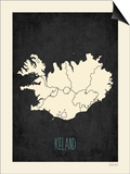 Black Map Iceland Prints by Rebecca Peragine