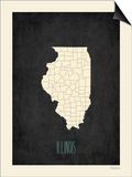 Black Map Illinois Posters by Rebecca Peragine