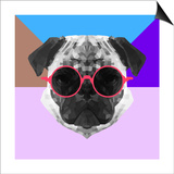 Party Pug in Pink Glasses Posters by Lisa Kroll
