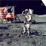 Eugene A. Cernan, Commander, Apollo 17 Salutes the Flag on the Lunar Surface Prints
