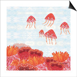 Orange Jelly Fish Posters by Sarah Millin