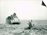 An M3 Grant Tank on the Move During the Battle of Kasserine Pass, Tunisia Posters