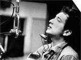 Bob Dylan During Recording of His 1st Disc in New York at Columbia Studios Prints