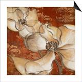 Whispering Magnolia on Red II Print by Lanie Loreth