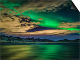 Green Light Collection - Cloudy Evening with Aurora Borealis or Northern Lights, Kleifarvatn, Iceland - Poster