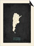 Black Map Argentina Art by Rebecca Peragine