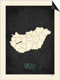 Black Map Hungary Prints by Rebecca Peragine