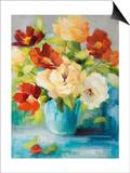 Flowers in Teal Vase 1 Prints by Lanie Loreth