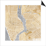 Gilded New York Map Poster by Laura Marshall