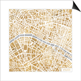 Gilded Paris Map Prints by Laura Marshall