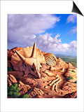 The Exposed Bones of a Triceratops on a Western Landscape Print