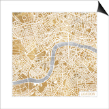 Gilded London Map Prints by Laura Marshall