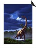 A Startled Brachiosaurus Splashes Through a Swamp Against a Stormy Sky Print