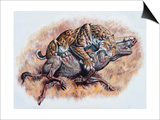 Smilodon (Dirk Sabertooth) Killing a Platygonus Prints