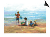 Three Little Beach Boys I Prints by Vickie Wade