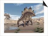 Stegosaurus Dinosaur Drinking Water in the Desert Art