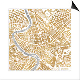 Gilded Rome Map Posters by Laura Marshall