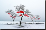 Red Umbrellas Stretched Canvas Print by Vladimir Kostka