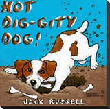 Hot Dig-Gity Dog! Stretched Canvas Print by Janet Kruskamp