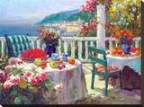Terrace Brunch Stretched Canvas Print by  Furtesen
