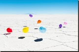Balloons Three, Salar de Uyuni, Bolivia Stretched Canvas Print by Richard Silver