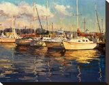 Boats on Glassy Harbor Stretched Canvas Print by  Furtesen