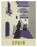 Spain - Spanish Women in Black Mantillas Giclée-tryk af Guy Georget