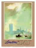 London - River Thames - SAS Scandinavian Airlines System Prints by Otto Nielsen
