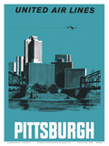 Pittsburgh, Pennsylvania USA - United Air Lines Art by Alf Maggee
